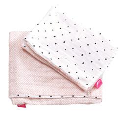 Dětské mušelínové povlečení Motherhood - růžové čtverce