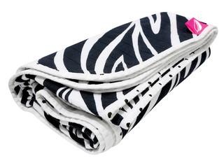 Mušelínová deka Motherhood - tmavě modrá zebra